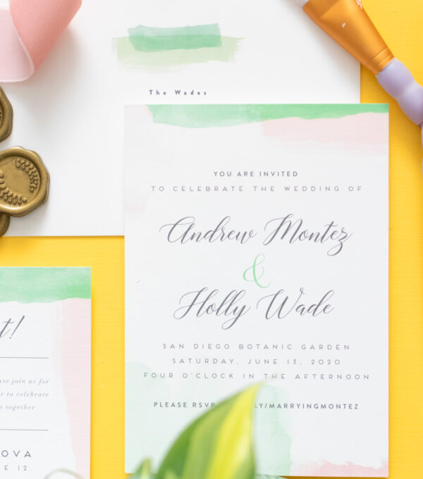 Example of watercolor invitations by Minted