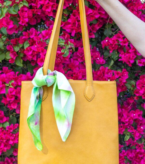 handkerchief tied to tote bag