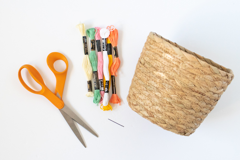 supplies for an easy basket update with embroidery floss