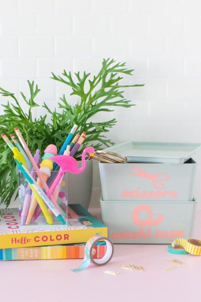office supplies with boxes decorated with vinyl labels