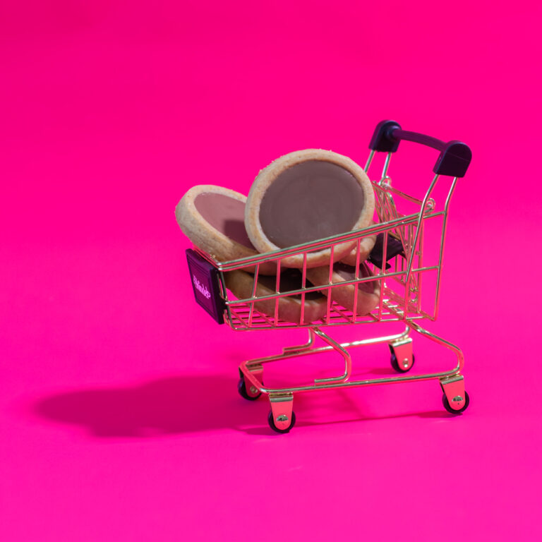 content creation photography of cookies in shopping cart