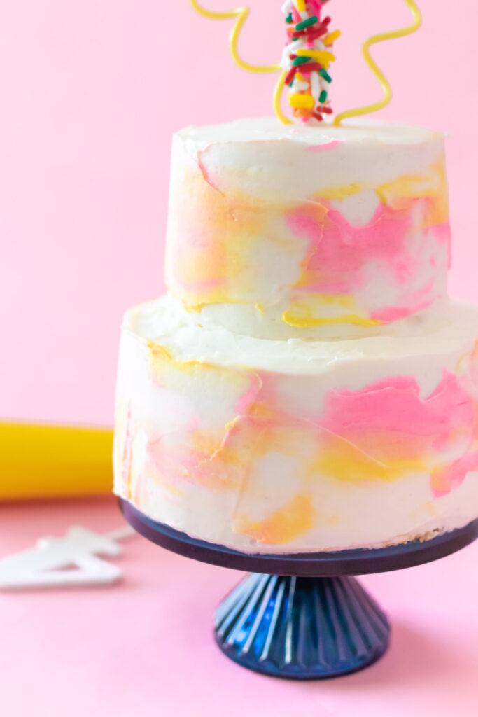 closeup of brustroke detail on watercolor layer cake