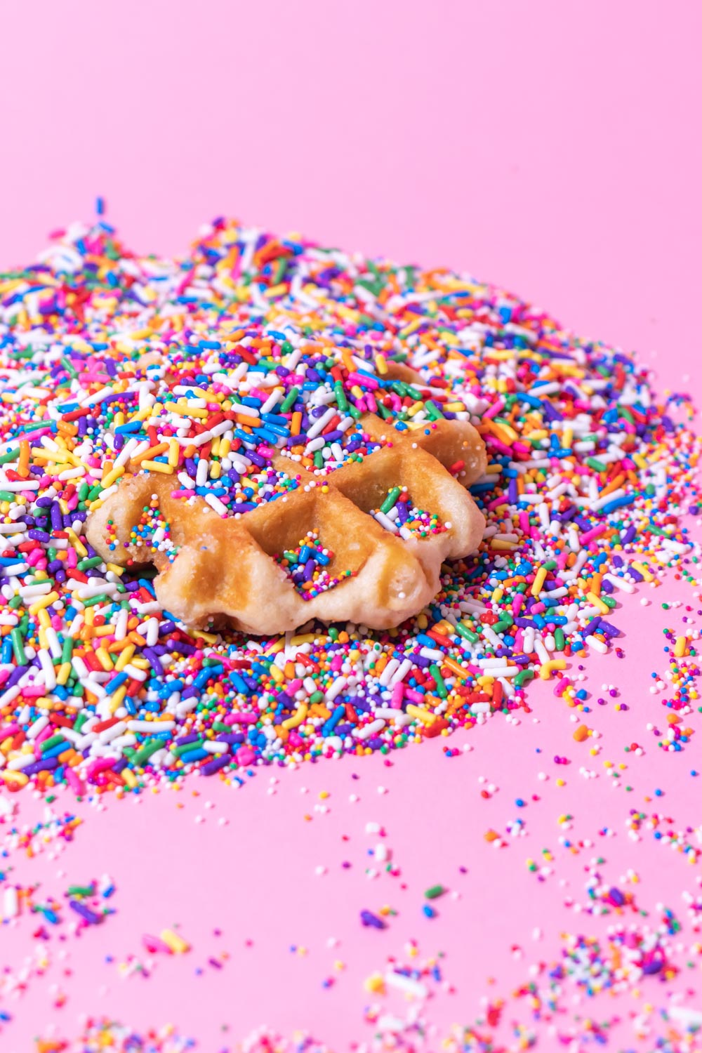 waffle in sprinkles styled food photography for social media content creation