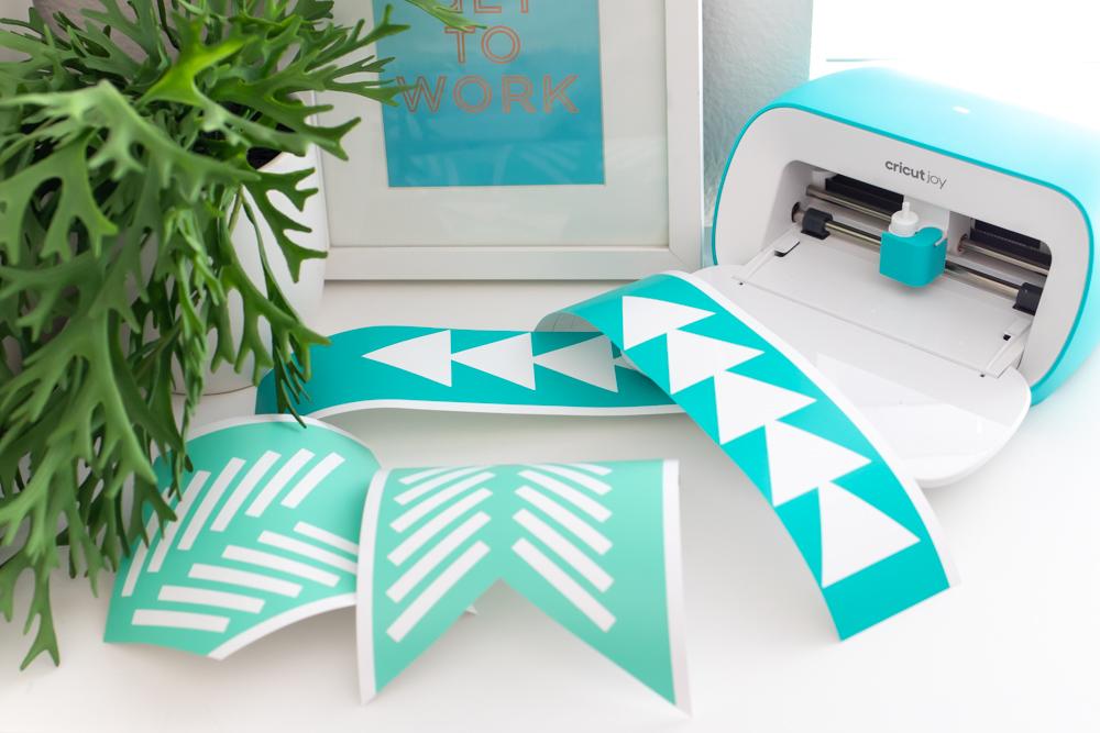 geometric cutouts from color vinyl with Cricut Joy