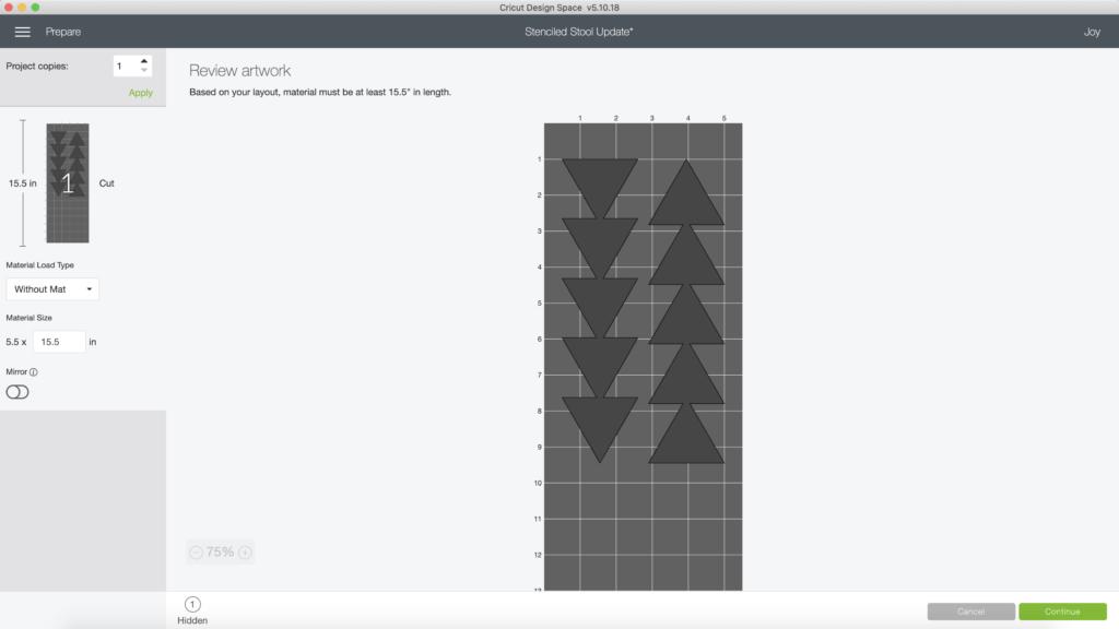 formatting design in Cricut Design Space