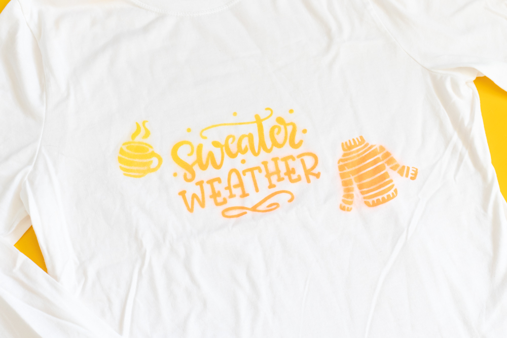 """""""sweater weather"""" spray paint stenciled t-shirt"""