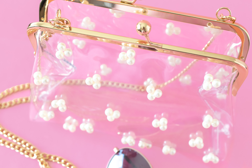 closeup of detail on clear pearl stadium bag
