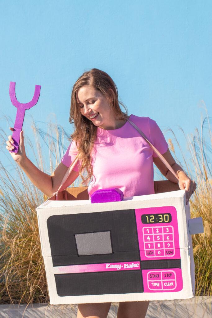 woman modeling Easy Bake Oven costume