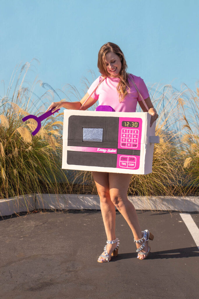 woman wearing Easy Bake Oven costume for Halloween