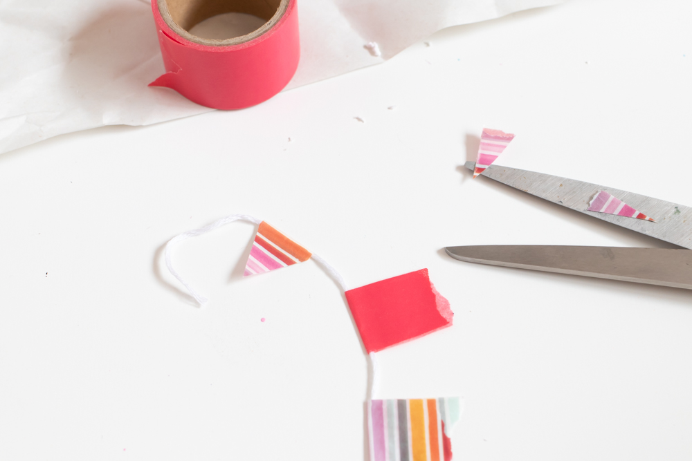 washi tape on string for miniature bunting