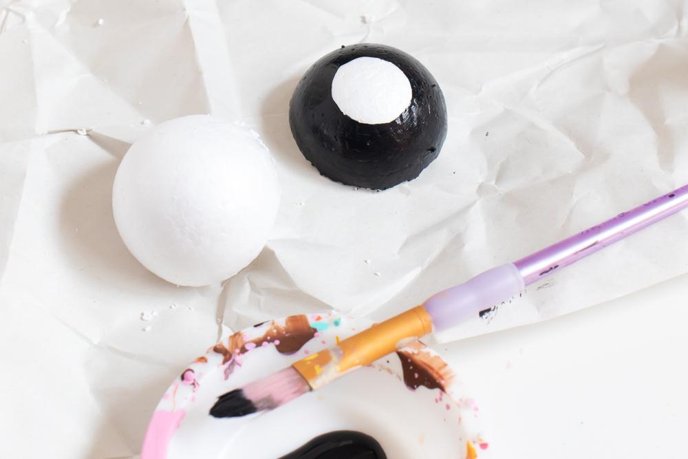 painting styrofoam balls to look like wheels