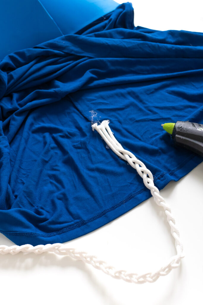 """gluing LeakGuard Braid """"tail"""" to Tampax costume"""