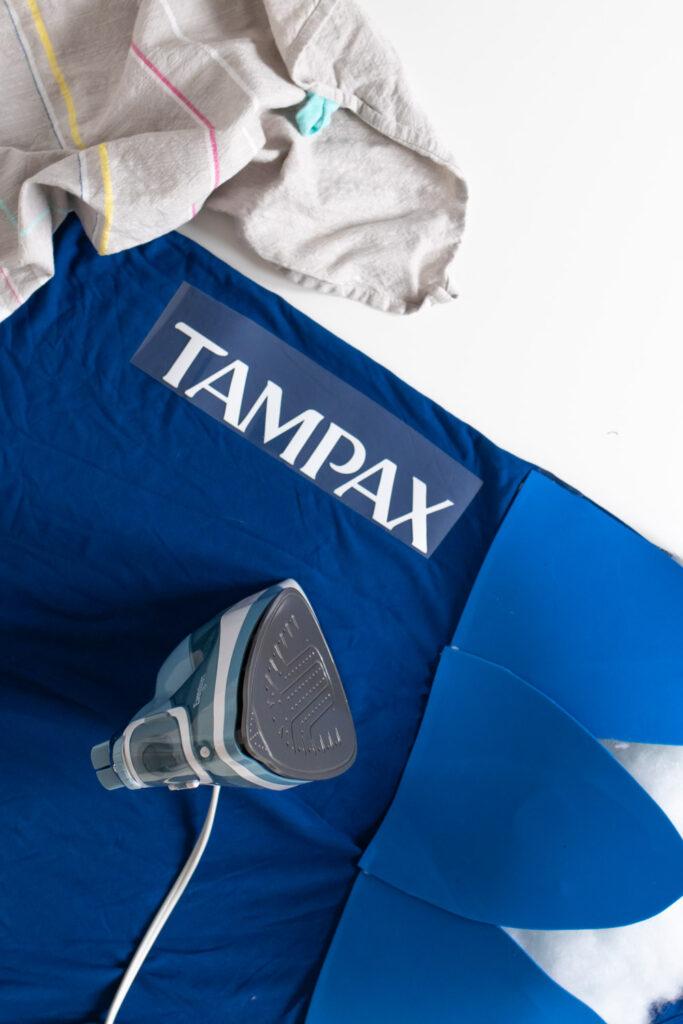 ironing Tampax logo onto tampon costume