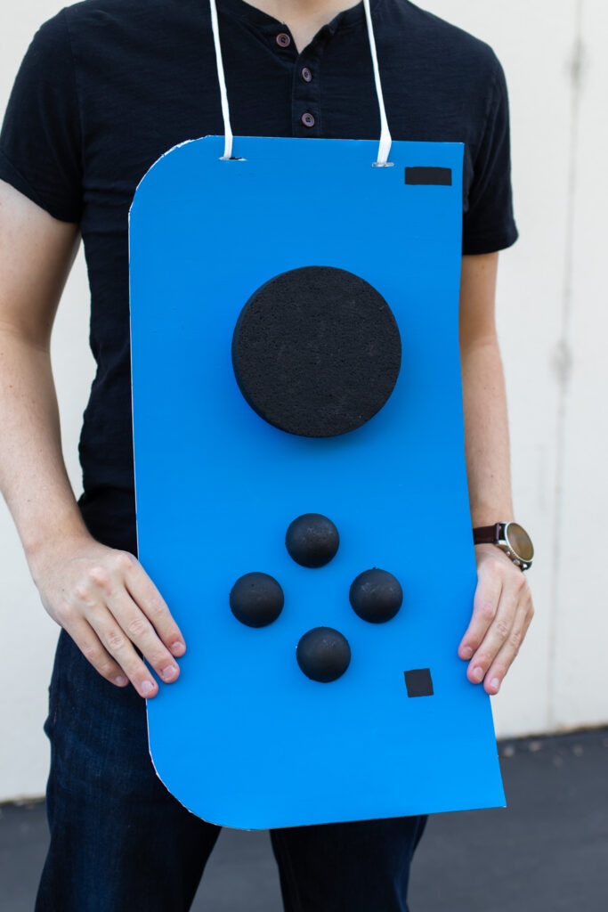 closeup of blue Nintendo Switch costume controller