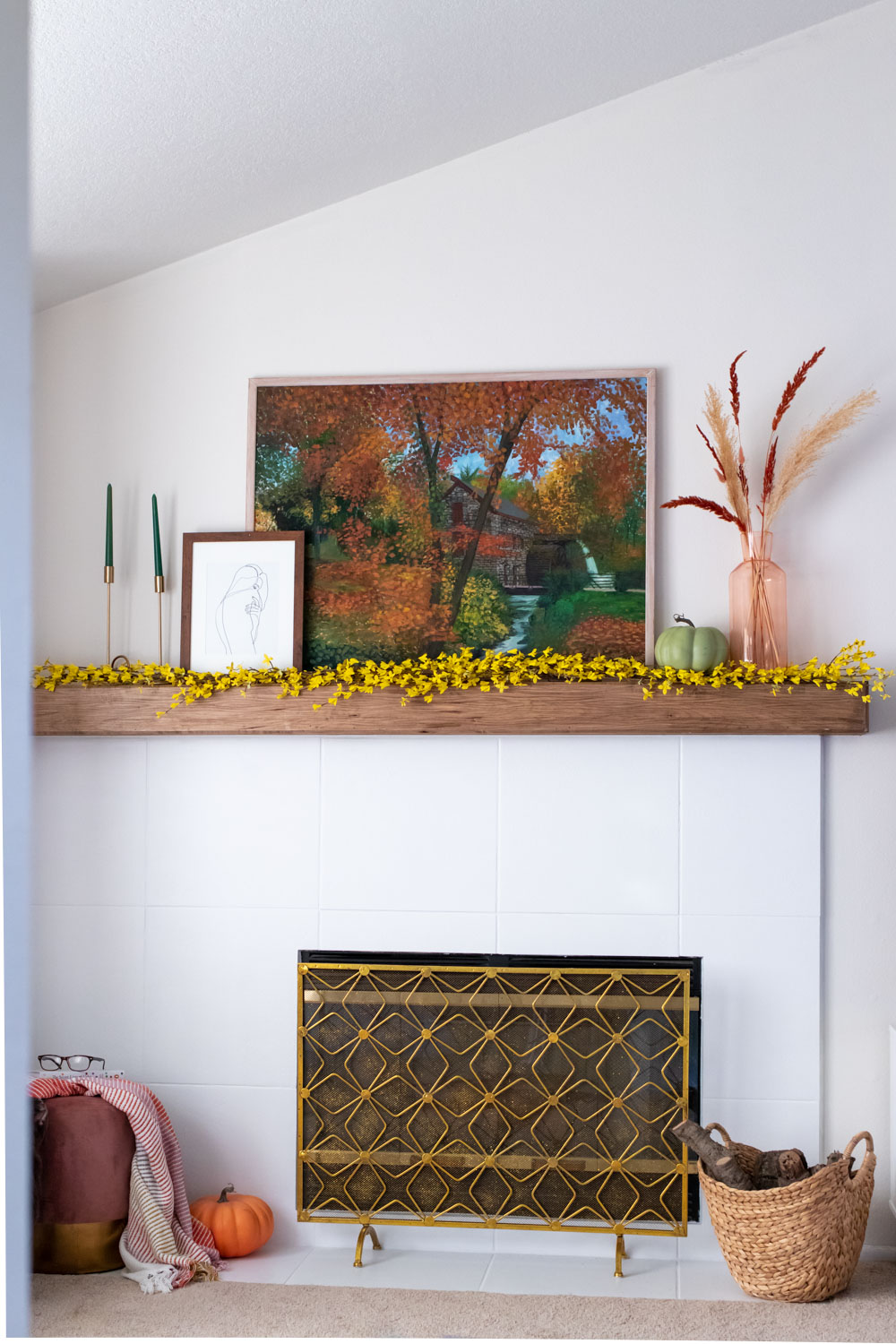 final reveal and result of how to paint a tile fireplace