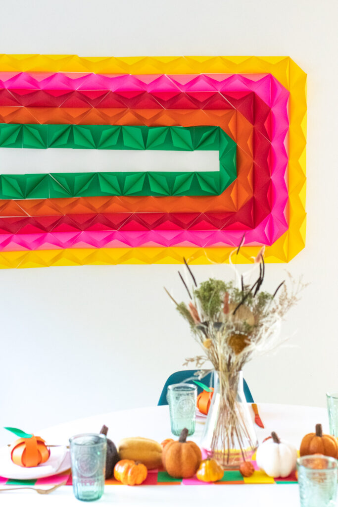diy thanksgiving tablescape with 3d paper mural and other diy party decor
