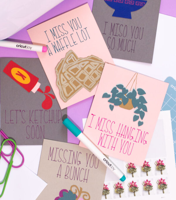 homemade cards with envelopes and Cricut Joy machine