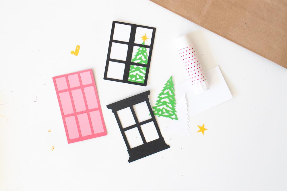 miniatures paper door and windows for gift bags