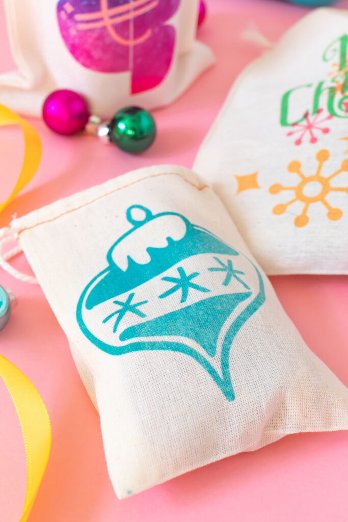 closeup of Infusible Ink ornament on treat bag