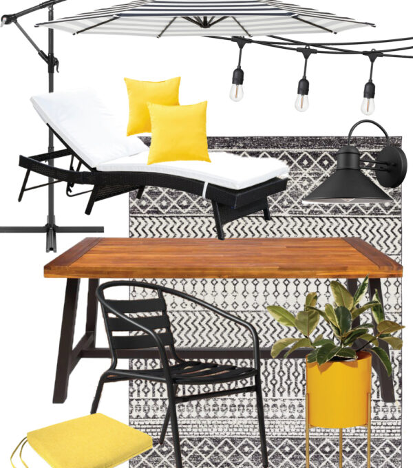 mood board of vintage-inspired outdoor decor inspiration for fall