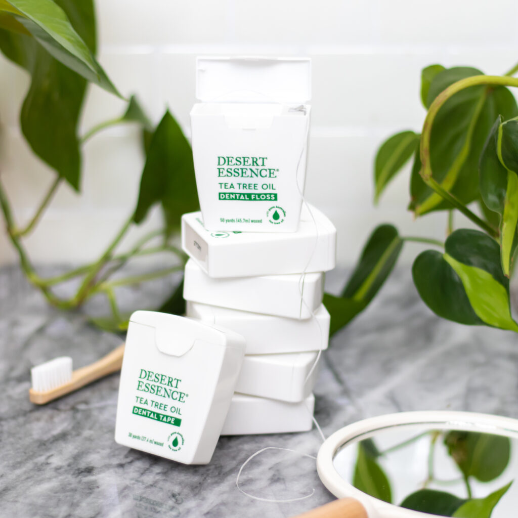 stacked dental floss for beauty brand content creation