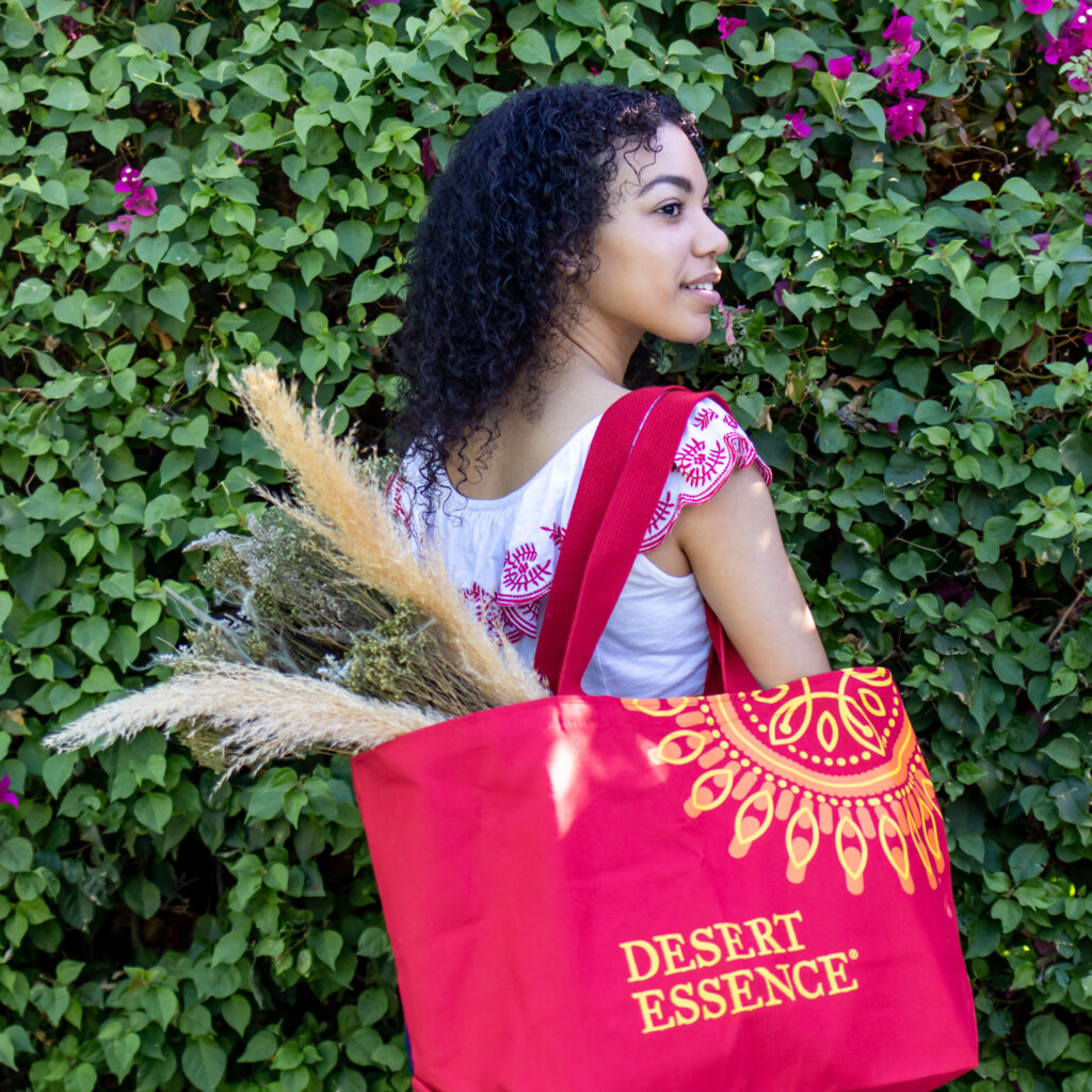 model for content creator holding tote bag for beauty brand