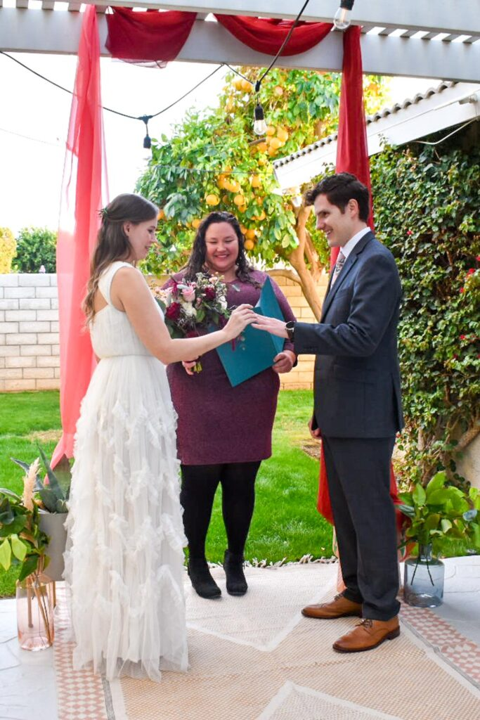 ceremony at micro backyard wedding
