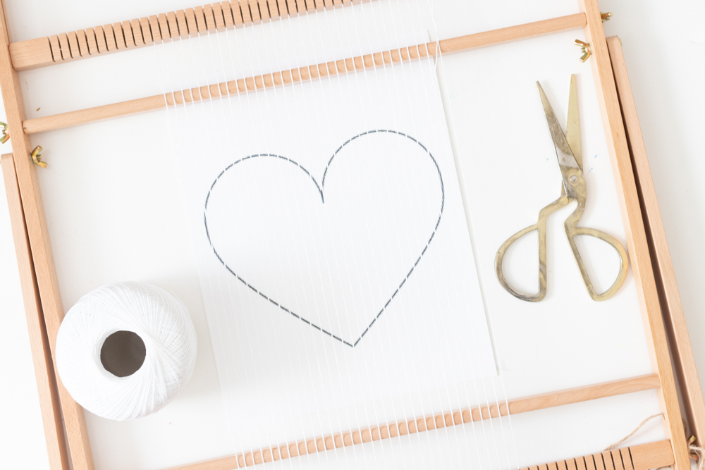 preparing materials for heart weaving decor