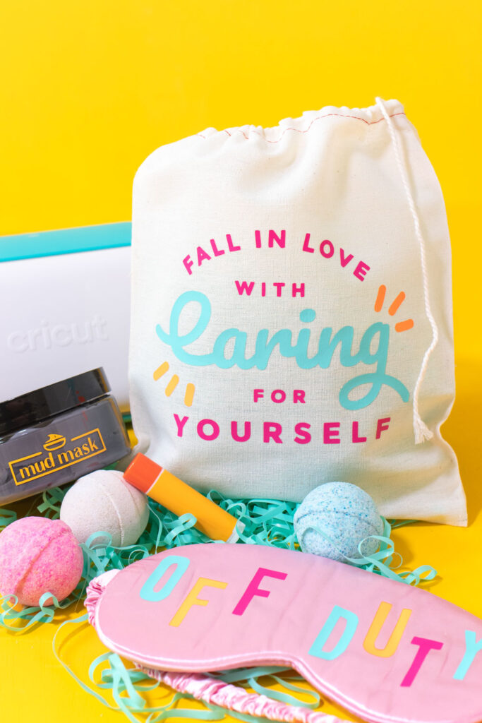 DIY self care gift baskets with vinyl decals