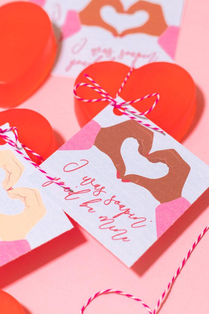 closeup of covid printable soap valentines in multiple skin tones