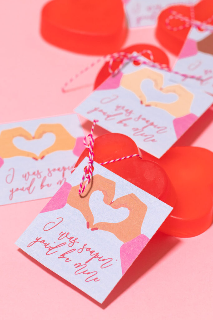 closeup of printable soap valentines for covid