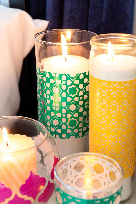 closeup of vinyl pattern on boho candleholder