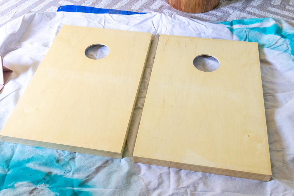 plain cornhole boards from wayfair before decorating
