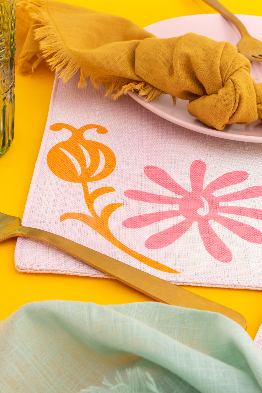 closeup of floral placemat details with Cricut Infusible Ink